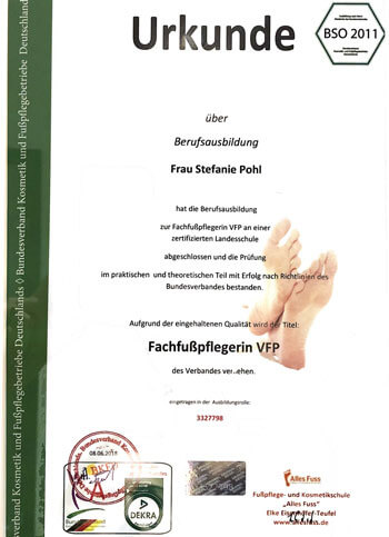 Zertifikat Fachfusspflege