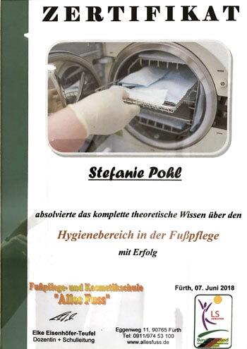 Zertifikat Hygienebereich Fußpflege
