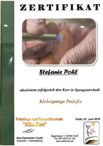 Zertifikat Klebespange Podofix